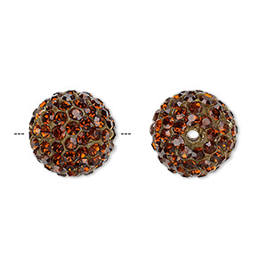 bead, glass rhinestone / epoxy / resin, brown, 14mm round. sold individually.
