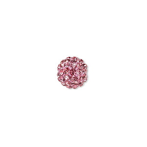 bead, glass rhinestone / epoxy / resin, dark pink, 10mm round. sold individually.