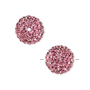 bead, glass rhinestone / epoxy / resin, dark pink, 14mm round. sold individually.