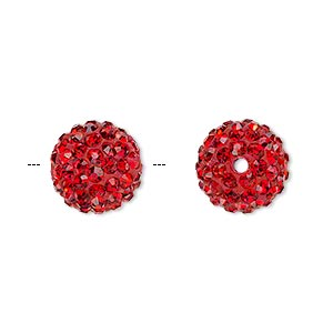 bead, glass rhinestone / epoxy / resin, red, 12mm round. sold individually.