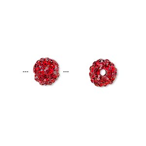 bead, glass rhinestone / epoxy / resin, red, 8mm round. sold individually.