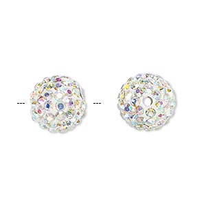 bead, glass rhinestone / epoxy / resin, white and clear ab, 12mm round. sold individually.