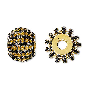 bead, glass rhinestone and gold-finished brass, black, 25x20mm barrel with 3mm chatons, 6.5mm hole. sold individually.