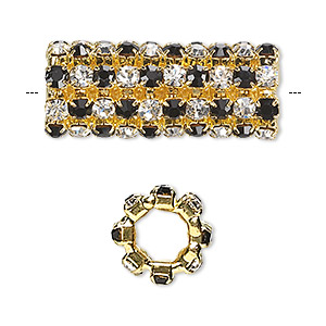 bead, glass rhinestone and gold-finished brass, black and clear, 32x13mm cylinder with 3mm chatons, 7.5mm hole. sold individually.