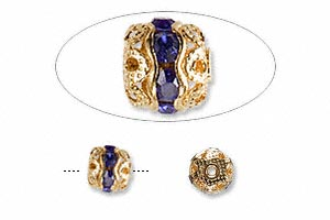 bead, glass rhinestone and gold-finished brass, blue, 6mm banded round. sold per pkg of 10.
