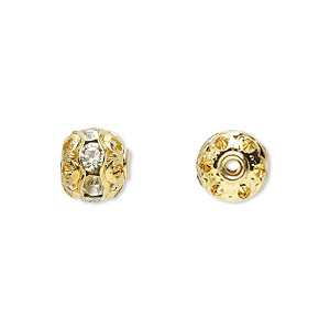 bead, glass rhinestone and gold-finished brass, clear, 8mm banded round. sold per pkg of 10.