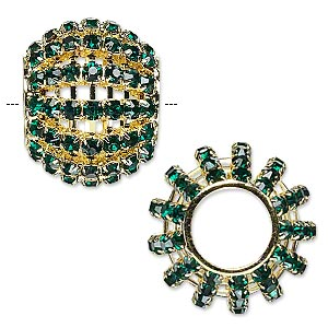 bead, glass rhinestone and gold-finished brass, emerald green, 25x20mm barrel with 3mm chatons, 11.5mm hole. sold individually.