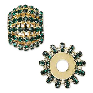 bead, glass rhinestone and gold-finished brass, emerald green, 25x20mm barrel with 3mm chatons, 6.5mm hole. sold individually.