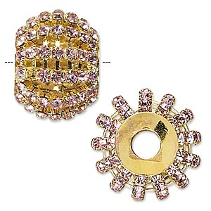 bead, glass rhinestone and gold-finished brass, pink, 25x20mm barrel with 3mm chatons, 6.5mm hole. sold individually.
