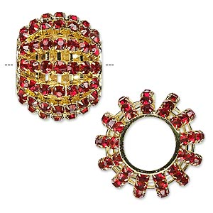 bead, glass rhinestone and gold-finished brass, ruby red, 25x20mm barrel with 3mm chatons, 11.5mm hole. sold individually.
