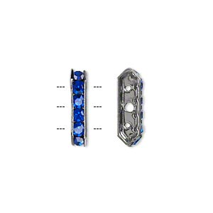 bead, glass rhinestone and gunmetal-finished brass, sapphire blue, 16x5mm 3-strand 6-sided bridge spacer. sold per pkg of 10.