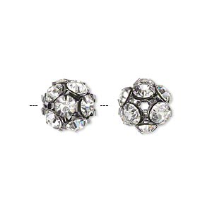 bead, glass rhinestone and gunmetal-plated brass, clear, 10mm round. sold per pkg of 10.