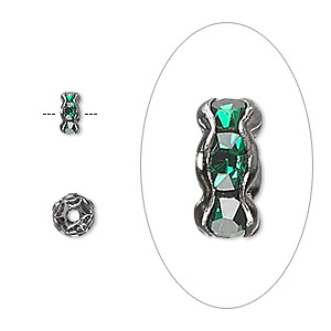 bead, glass rhinestone and gunmetal-plated brass, emerald green, 6x3mm rondelle. sold per pkg of 10.