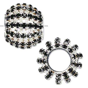 bead, glass rhinestone and silver-finished brass, black, 25x20mm barrel with 3mm chatons, 11.5mm hole. sold individually.