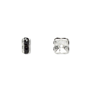 bead, glass rhinestone and silver-plated brass, black, 6x3mm squaredelle. sold per pkg of 10.