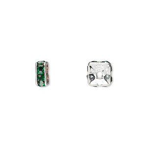 bead, glass rhinestone and silver-plated brass, emerald green, 6x3mm squaredelle. sold per pkg of 10.