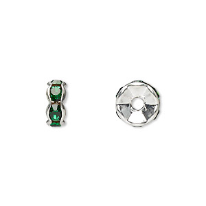 bead, glass rhinestone and silver-plated brass, emerald green, 8x4mm rondelle. sold per pkg of 10.