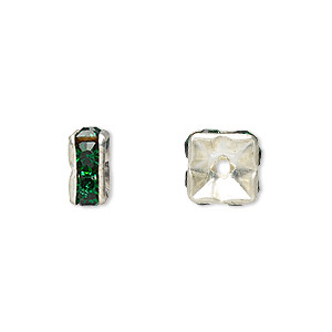 bead, glass rhinestone and silver-plated brass, emerald green, 8x4mm squaredelle. sold per pkg of 10.