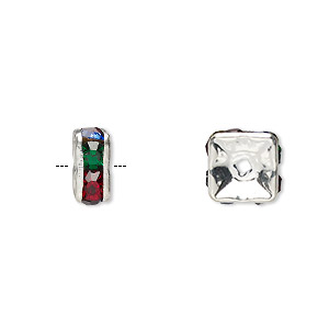 bead, glass rhinestone and silver-plated brass, multicolored dark, 8x4mm squaredelle. sold per pkg of 10.
