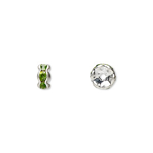 bead, glass rhinestone and silver-plated brass, peridot green, 6x3mm rondelle. sold per pkg of 10.
