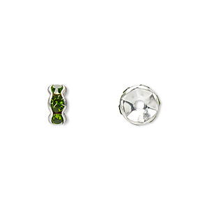 bead, glass rhinestone and silver-plated brass, peridot green, 7x3.5mm rondelle. sold per pkg of 10.