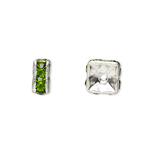 bead, glass rhinestone and silver-plated brass, peridot green, 8x4mm squaredelle. sold per pkg of 10.
