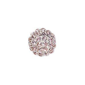 bead, glass rhinestone and silver-plated brass, pink, 27mm ball with 5mm chatons, 4.5mm hole. sold individually.