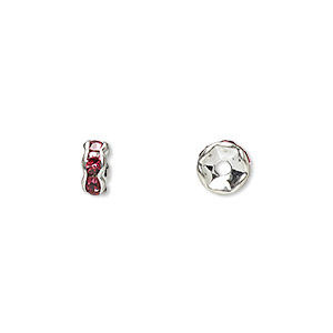 bead, glass rhinestone and silver-plated brass, rose, 6x3mm rondelle. sold per pkg of 10.