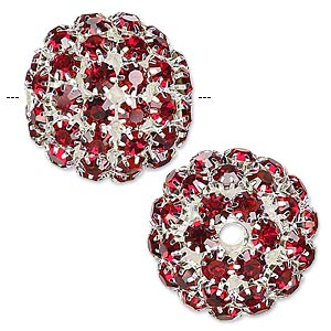 bead, glass rhinestone and silver-plated brass, ruby red, 27mm ball, 4.5mm hole. sold individually.