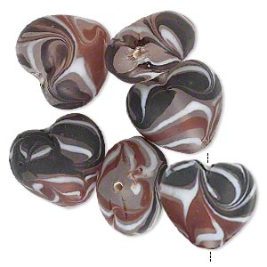 bead, glass, translucent multicolored, 23x20mm-25x23mm puffed heart. sold per pkg of 6.