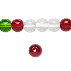 bead, glass, transparent christmas tones, 7-8mm round. sold per 36-inch strand.