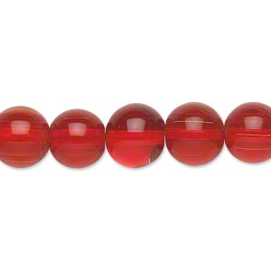 bead, glass, transparent red, 10mm round. sold per pkg of (2) 16-inch strands.