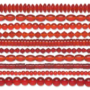 bead, glass, transparent red, 5mm-11x8mm mixed shapes. sold per pkg of (10) 16-inch strands.