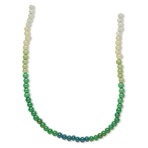 bead, glass, transparent to opaque shaded green to teal green, 6mm round. sold per pkg of four 14-inch strands, approximately 230 beads.