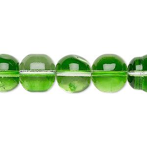 bead, glass, two-tone translucent clear and spring green, 11-12mm uneven round. sold per 15-inch strand.