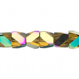 bead, glass, yellow ab, 10x8mm pyramid. sold per 16-inch strand.