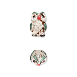 bead, glazed ceramic, multicolored, 14x11mm hand-painted owl. sold per pkg of 2.