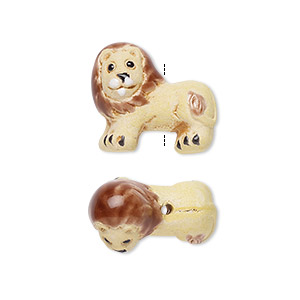 bead, glazed ceramic, multicolored, 21x15mm hand-painted lion. sold per pkg of 2.