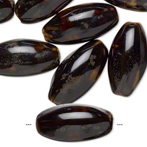 bead, glazed porcelain, dark and light brown, 23x12mm textured oval with 2mm hole. sold per pkg of 10.