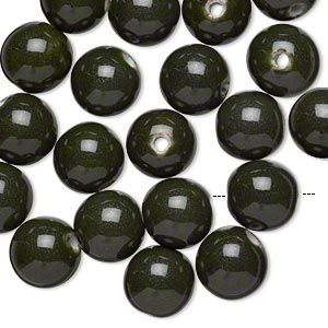 bead, glazed porcelain, dark green, 15mm round with 2.75mm hole. sold per pkg of 20.