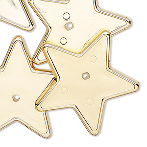 bead, gold-coated vintage german acrylic, 34x32mm flat star with 30x30mm star setting. sold per pkg of 6.