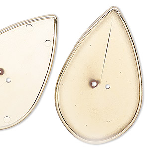 bead, gold-coated vintage german acrylic, 44x28mm flat teardrop with 41x25mm teardrop setting. sold per pkg of 3.
