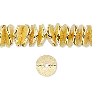 bead, gold-finished brass, 10x2.5mm textured wavy rondelle. sold per pkg of 30.