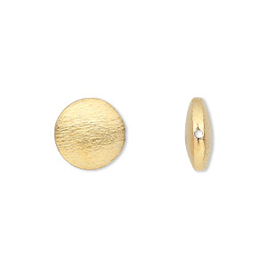 bead, gold-finished brass, 12mm brushed puffed flat round. sold per pkg of 4.