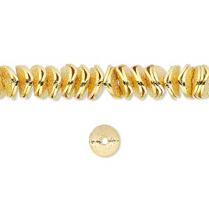 bead, gold-finished brass, 6x2mm textured wavy rondelle. sold per pkg of 30.