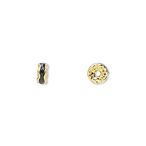 bead, gold-finished brass and rhinestone, black, 5x2mm rondelle. sold per pkg of 10.