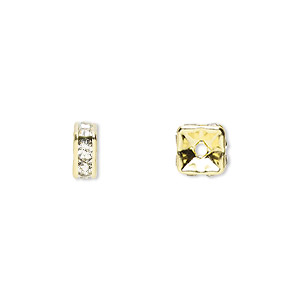 bead, gold-finished brass and rhinestone, clear, 6x3mm squaredelle. sold per pkg of 10.