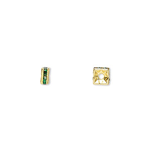 bead, gold-finished brass and rhinestone, emerald green, 4x2mm squaredelle. sold per pkg of 10.