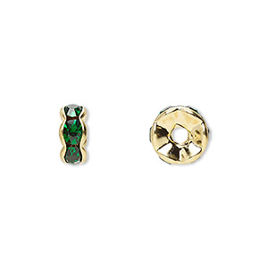bead, gold-finished brass and rhinestone, emerald green, 8x4mm rondelle. sold per pkg of 10.