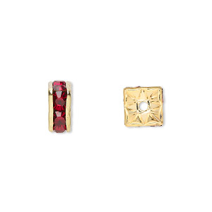 bead, gold-finished brass and rhinestone, garnet red, 8x4mm squaredelle. sold per pkg of 10.